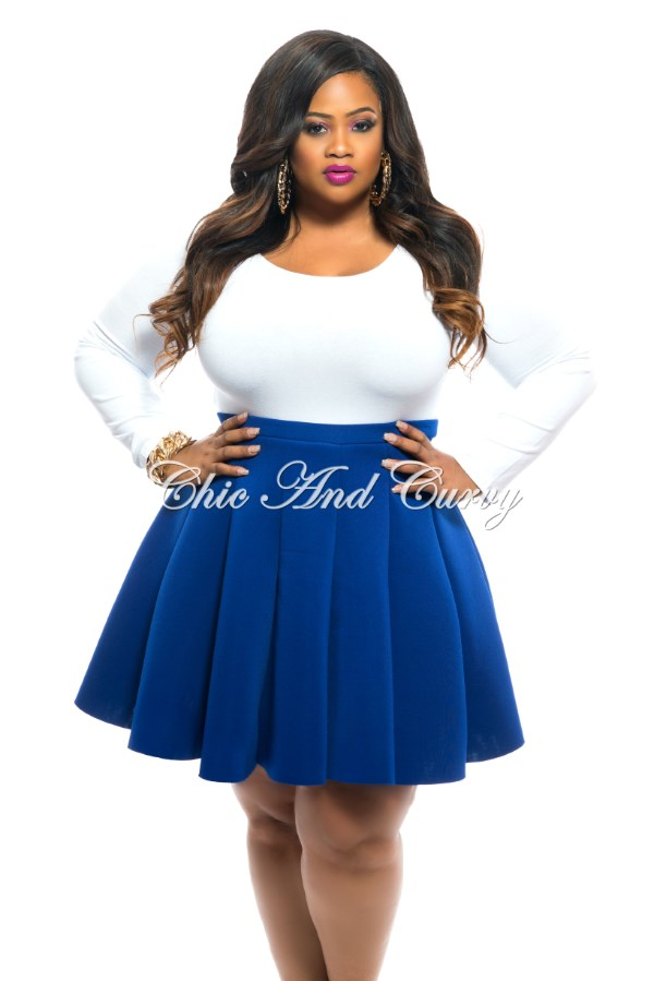 new plus size skirt in neoprene fabric in royal blue 1x 2x